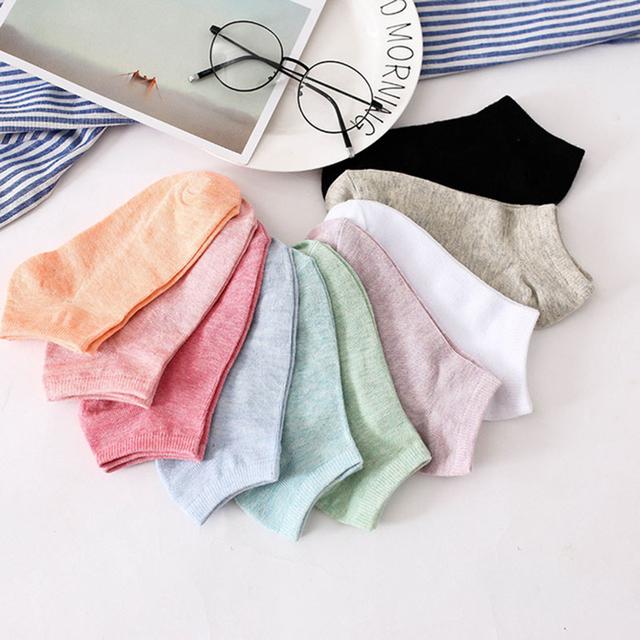 Women's Candy Color Cotton Socks