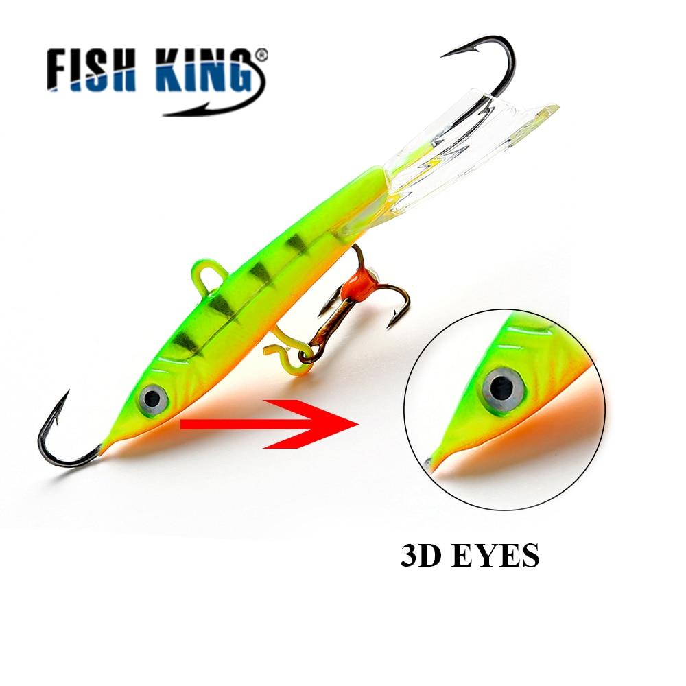 FISH KING 1PC 22G/8CM Winter Fishing Lure Ice Fishing Jig Bait Fishing hooks Balancer Lead Hard Lure 8# Treble Hooks