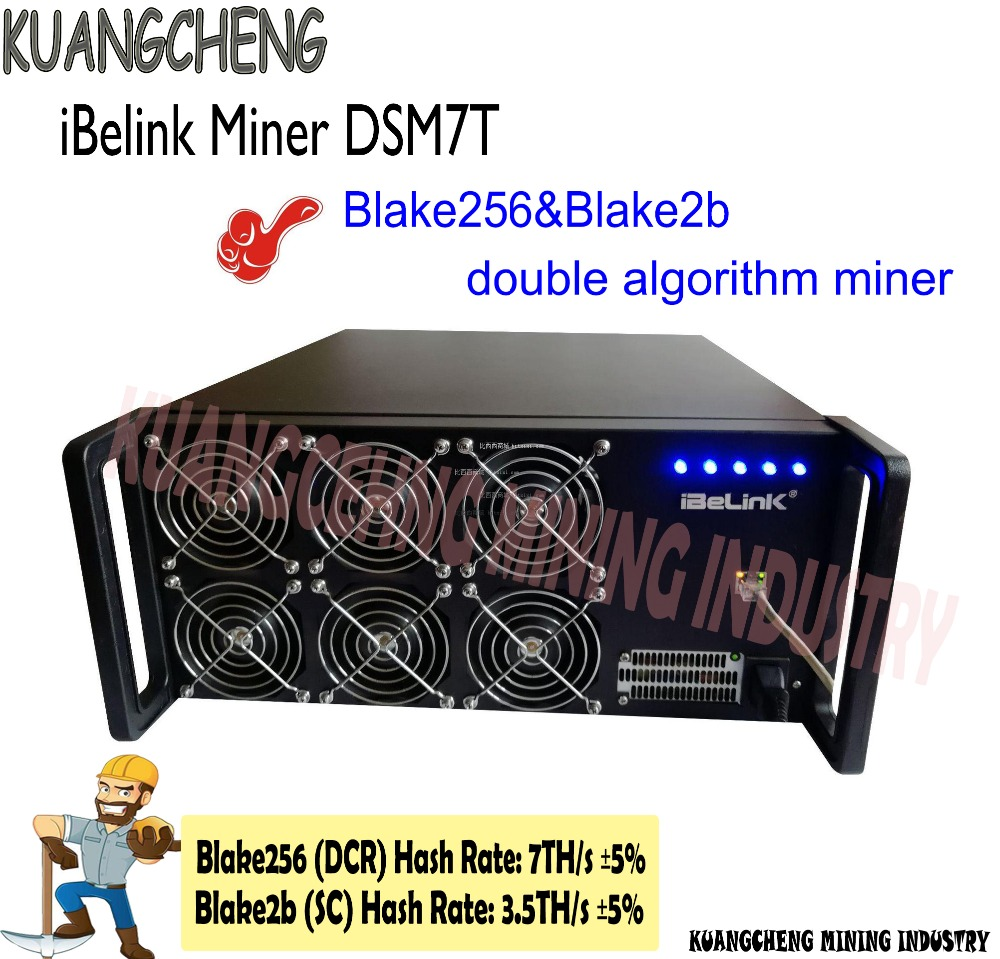 IBelink Miner DSM7T Integrated PSU Power Supply Blake256&Blake2b Double Algorithm Miner Can Mining DCR/SC