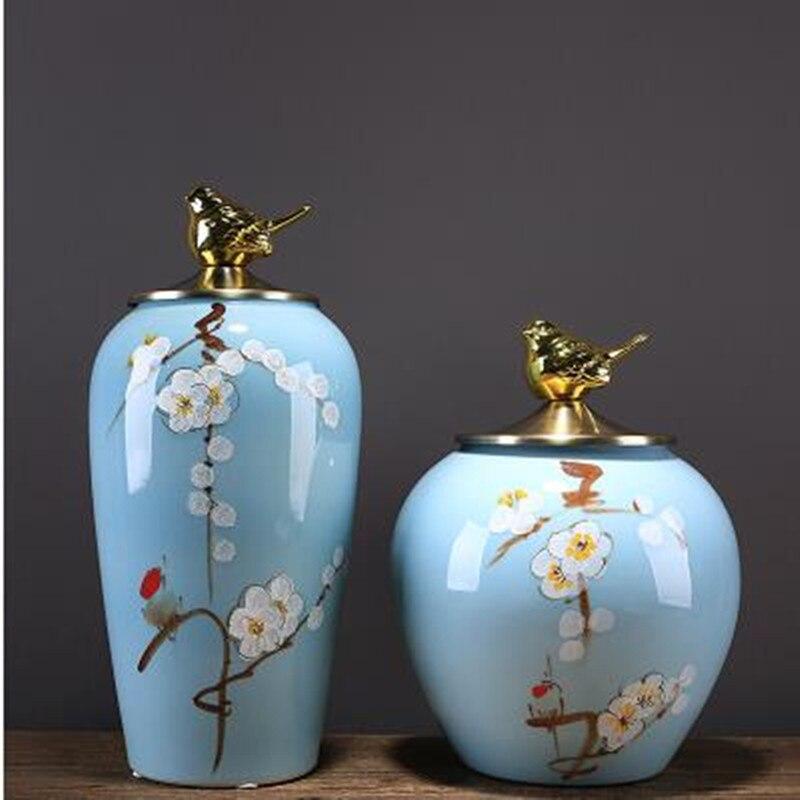 Pot de rangement en céramique créatif, décoration de table de décoration de maison, impression d'oiseau de fleur de prunier