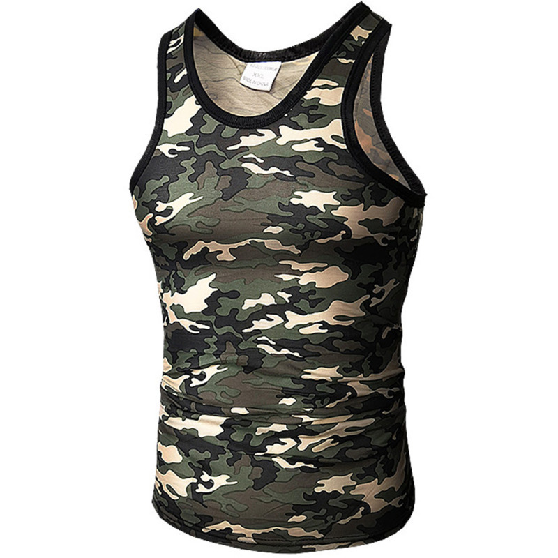 Summer Fashion Men's Quick-drying Camouflage Vest T-shirt Elastic Tight Vest