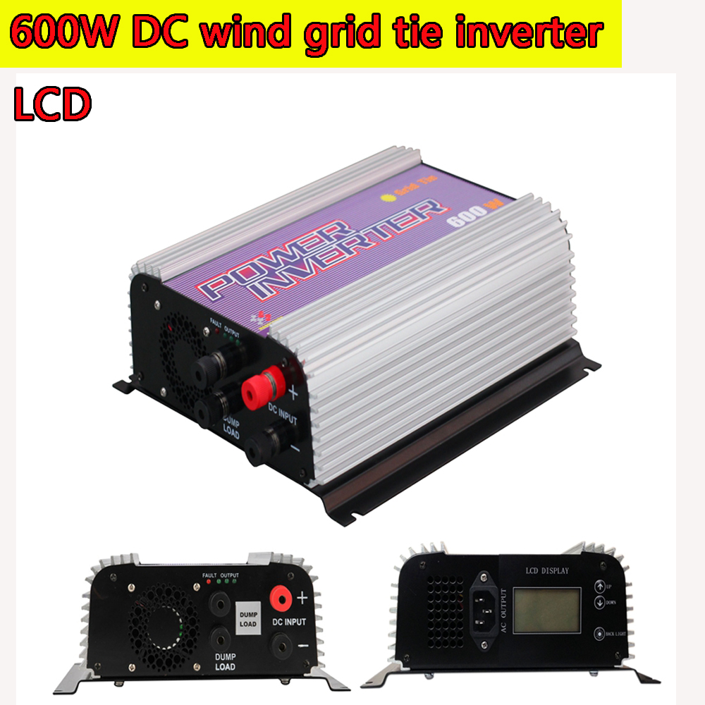 600W Wind Turbine Grid Tie Power Inverter with Dump Load Resistor LCD MPPT Pure Since Wave 10.5-30V/22-60V DC Input Wind Turbine solar power on grid tie mini 300w inverter with mppt funciton dc 10 8 30v input to ac output no extra shipping fee