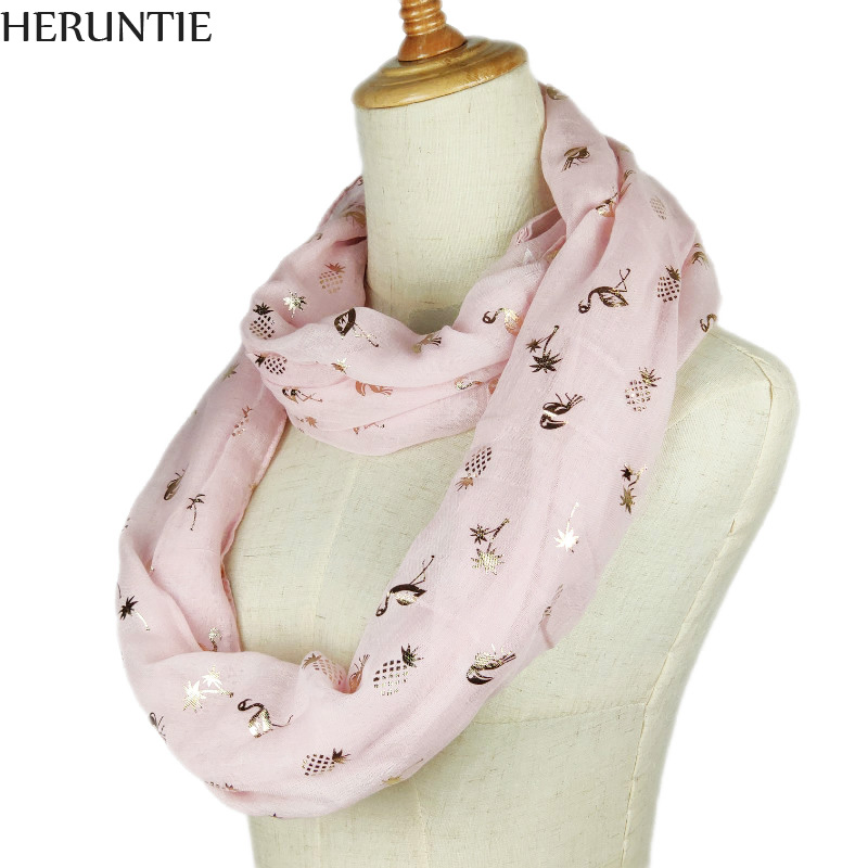 2019 spring New women ring scarf Fashion Bronzing Flamingo flower printed Ring Scarves Snood Foulard Shawl Infinity Scarf autumn