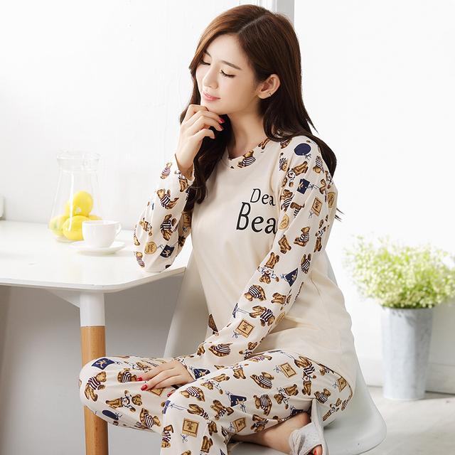 Pajamas Sets Women Striped 100% Cotton Carton Fashion Women Long Sleeve Sleepwear Suit 2 piece Sexy Spring Home Lounge Gift