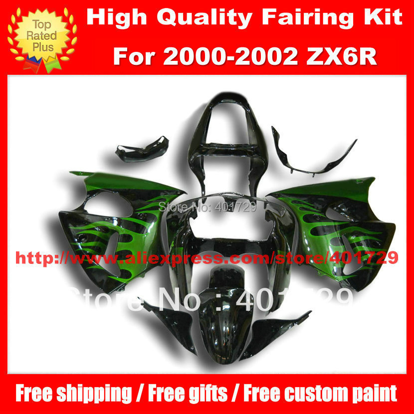 Racing motorcycle fairing for ZX6R parts 2000 2001 2002 00 01 02 green flame black bodywork set