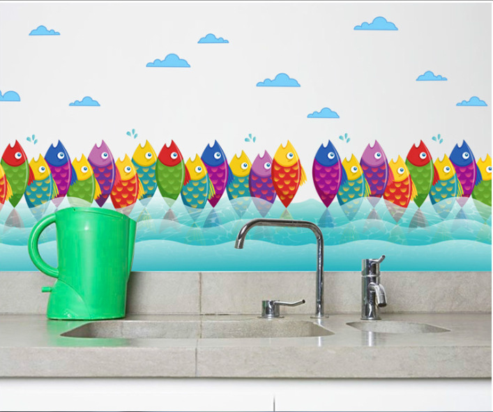 3D Underwater World Fish Baseboard Colorful Coral Wall Stickers Skirting  Home Decor Kids Rooms Bathroom Kitchen Wall Poster