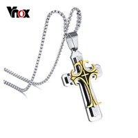 Vnox Men S Stainless Steel Large Fleur De Lis Cross 3 Tone Pendant Necklace 24 Chain