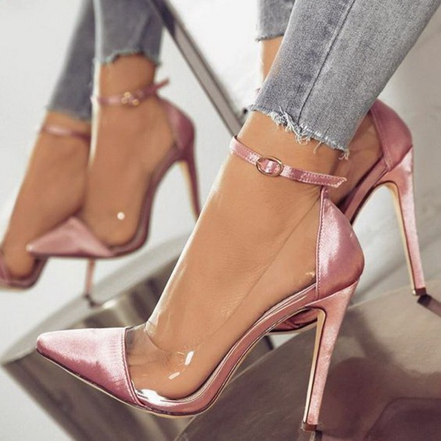 7ca120e087f 2019 jelly clear chaussure bride sexy women pump zapatos mujer thin high  heels ankle buckle ladies wedding shoes woman sapato