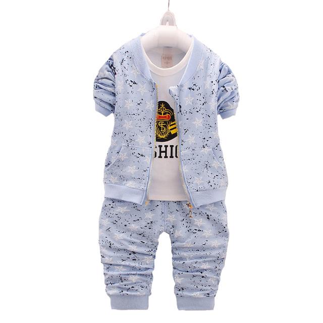 Ropa del Bebé 2017 Primavera Marca Niños Arropa los Sistemas t-shirt + Coat + Pants 3 UNIDS Ropa Traje conjunto de la Historieta Impresa Ropa de Recién Nacido