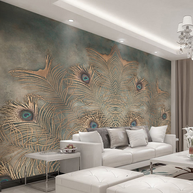 Custom Photo Wallpaper For Walls 3D Chinese Style Peacock Feather Abstract Art Wall Painting Interior Backdrop Wall Decor Mural