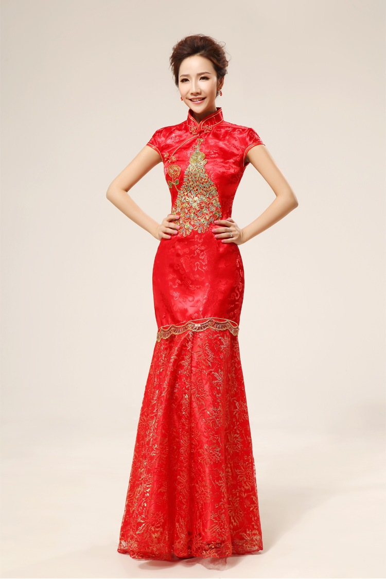 Free shipping chinese wedding dress wedding gowns red for Asian red wedding dresses