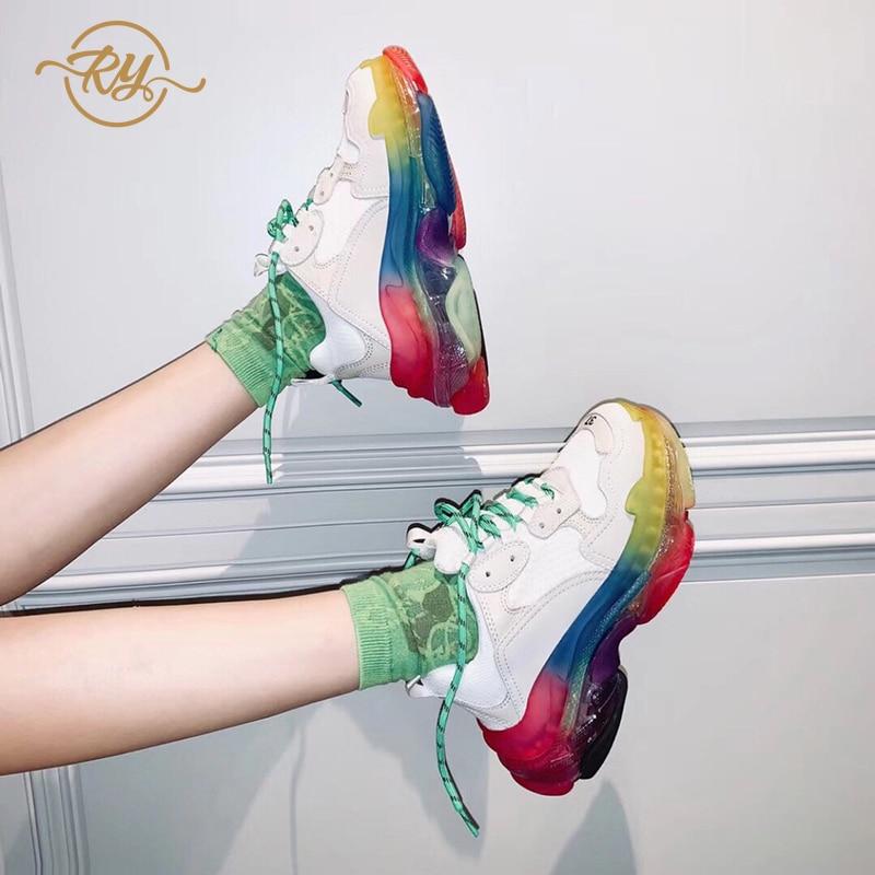 RY-RELAA femmes baskets 2018 cuir blanc chaussures de luxe femmes designers plate-forme baskets été nouvelles chaussures de style ins