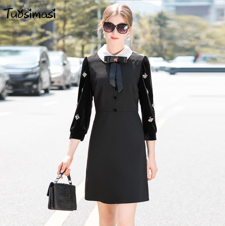 Robe Noir 2018 Printemps Arc Automne Perles Lady Ol Mince ul239 Velours Office FCfqxwvAnC