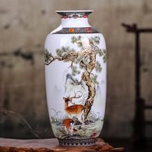 Jarrón de cerámica Jingdezhen jarrón Vintage chino tradicional decoración del hogar florero de animales superficie fina Lisa artículos de decoración