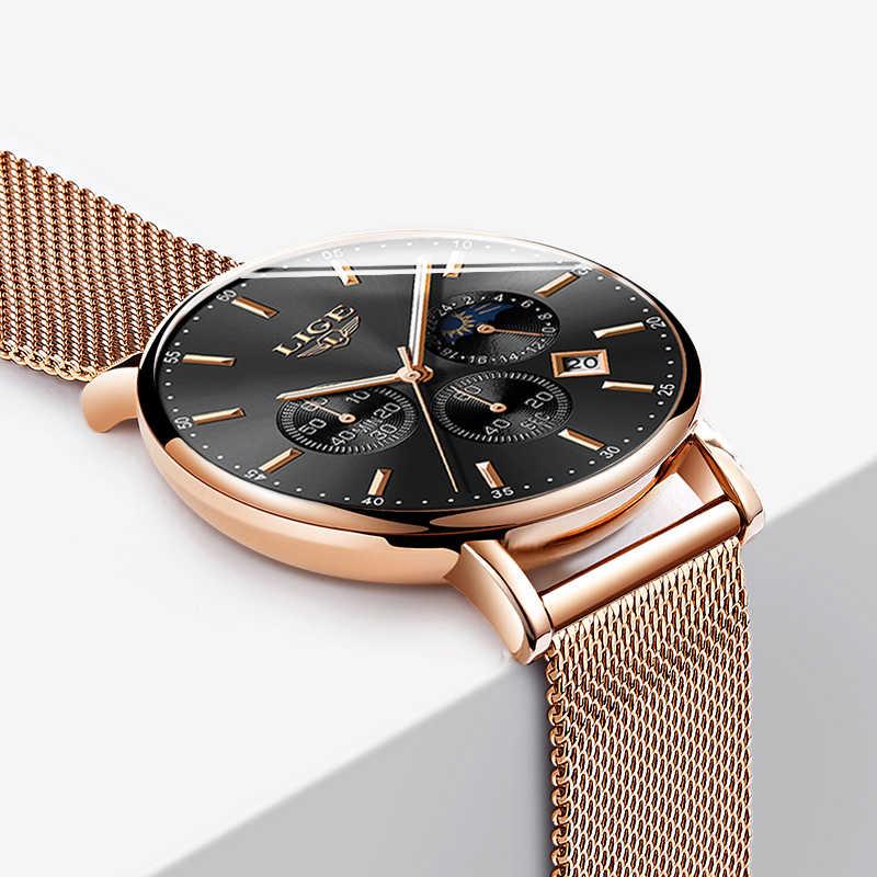 2019 新しい女性のギフト時計 LIGE ファッションブランドクォーツ腕時計女性高級ローズゴールド腕時計女性時計の女性が Feminino