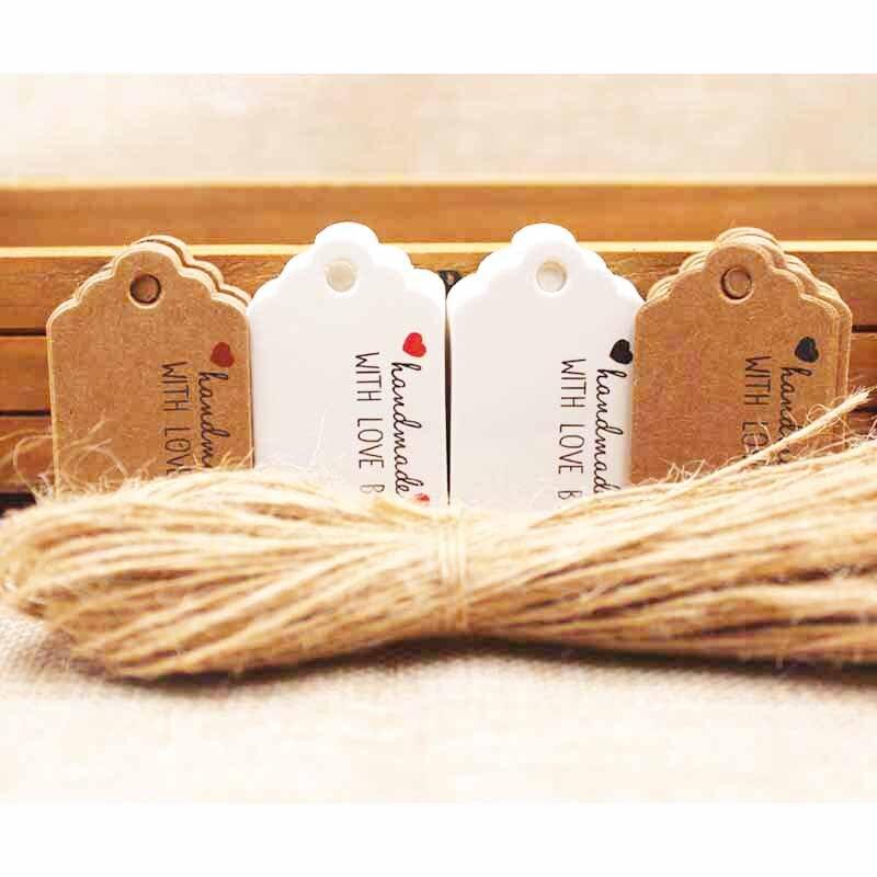 5*3 см крафт/белый DIy Handmde тег label С красное сердце подарок метка спасибо бумаги конфеты/ свадебной label 50 шт. + 50 строка