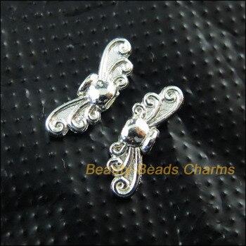 Новый 100 новинка, верхняя одежда для детей с рисунком в виде стрекозы крылья покрытые серебром Подвески бусины 4.5x14mm
