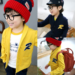 Free shipping children clothing boys and girls spring sweater cardigan outerwear kids jacket child clothes color yellow/blue