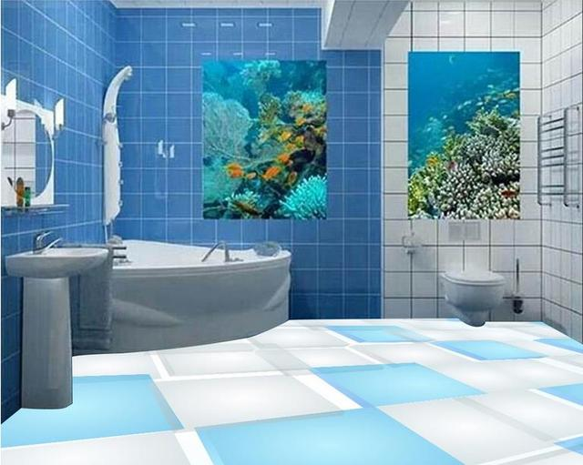 3d Floor Painting Custom Flooring Blue And White Squares Wall Papers Tiles Wallpapers