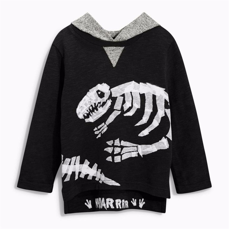 For Boys Hooded Sweater T-shirts Tops Clothing Autumn Winter New Dinosaur Fossil Printing Next Brand Full Sleeve Kids Clothes 08