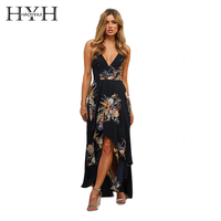 HYH HAOYIHUI Women Bohemian Floral Print Long Dress On Beach Deep V Neck Spaghetti Strap Backless Sleeveless High Low Dress