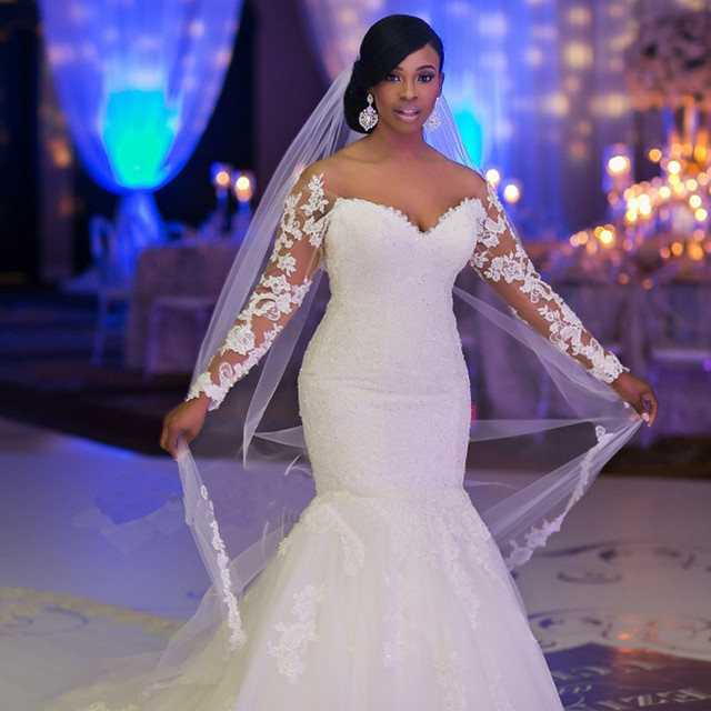 White Mermaid Tail Wedding Dress Long Sleeves Lace Liques Customized Plus Size Bride Gown