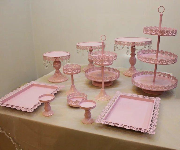 12 PCS Gold Wedding Dessert Tray Cake Stand Cupcake Pan Party Supply metal Pink wedding Cake disk Cake Tools