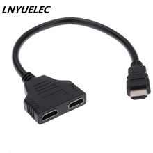 1000pcs HDMI 1 Male To Dual HDMI 2 Female Y Splitter Cable Adapter HD LED LCD