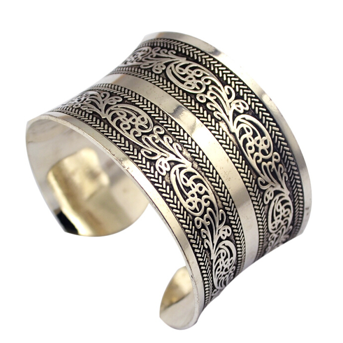 Fashion Vintage Style Tibetan Jewelry Antique Silver Bohemian Bangle Antique Tibetan Carving Cuff Bracelets Bangles For Women bangle