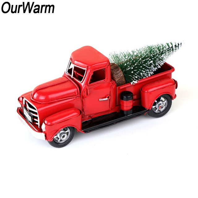 ourwarm red metal truck christmas party decoration table top decor for home kids gifts vintage truck