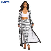 X Long Trench Woman Plus Size Coat Cardigan Cloak Long Pants Bodycon Pants Suit Casual Summer Two Piece Outfits Sexy 2 Piece Set