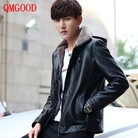 QMGOOD New Men S Winter High End Plus Cashmere PU Leather Jacket Casual Hooded Jackets Coat