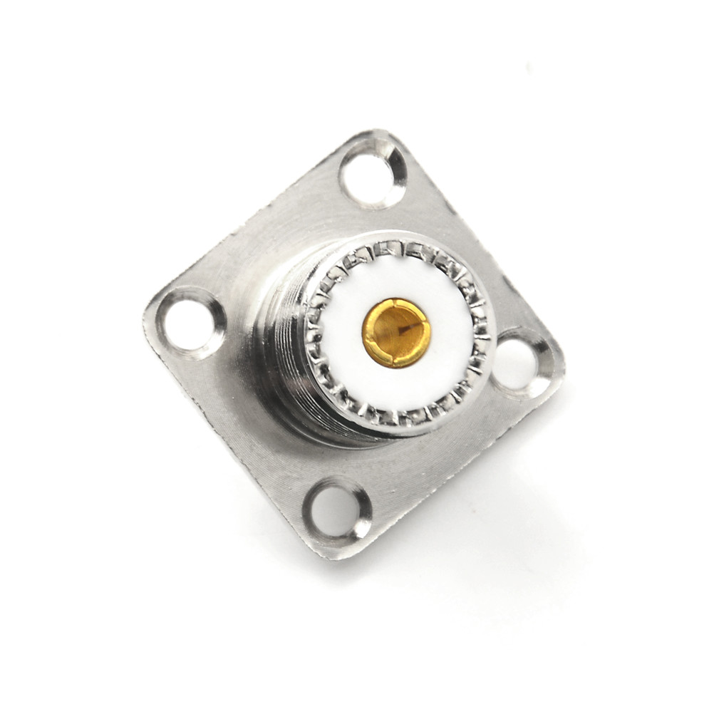 Hot 1x SO-239 Female Jack Square Shape Solder Cup Practical Coax Connector For Radio 4 Hole Panel Chassis Mounting