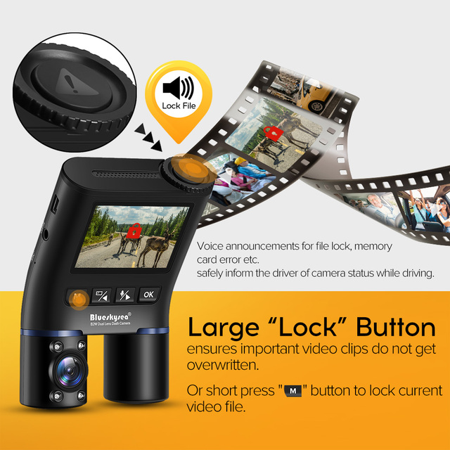 Blueskysea B2W Dual Lens WIFI DashCam for Uber Lyft Taxi Night Vision Car Camera Full HD1080P DVR Recorder Rear View Dash Camera 2
