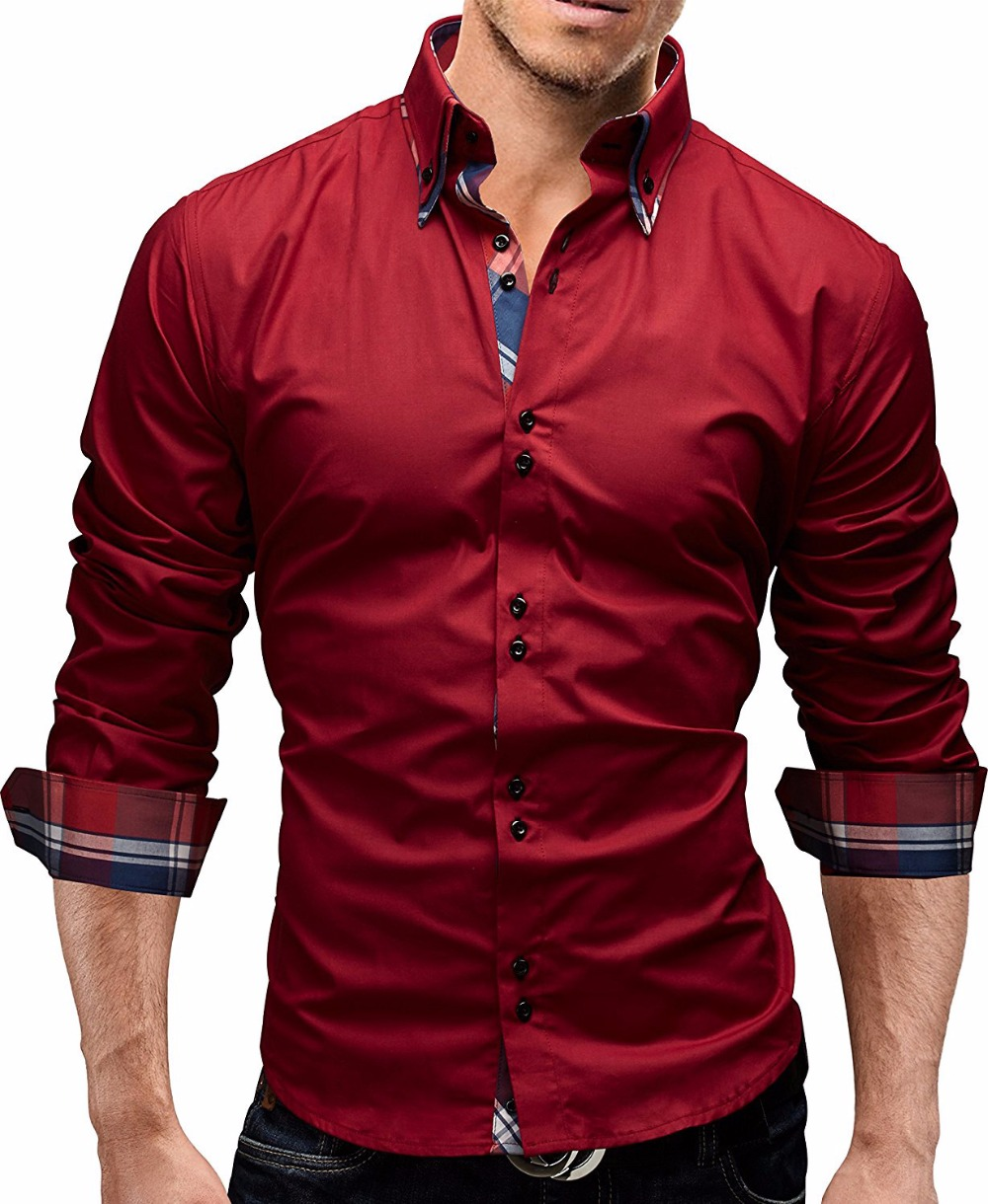 Men shirt 2017 spring new brand business men 39 s slim fit for Mens slim hawaiian shirt
