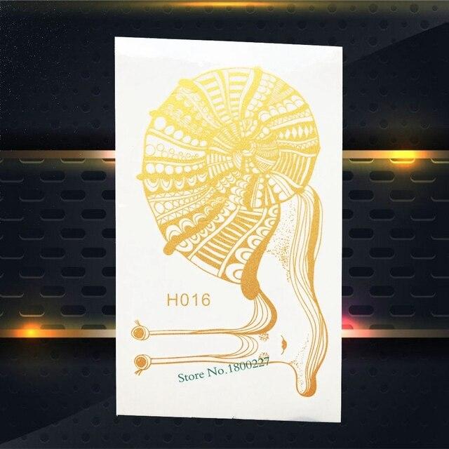 1 Pc Unik Logam Tato Tubuh Art Henna Emas Indah Siput Sekrup Desain