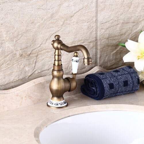Single Handle Antique Brass Porcelain Kitchen Faucet