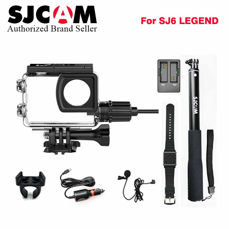 Original SJCAM Motorcycle waterproof case+Car charger+Microphone+Remote watch+Monopod+dual charger for SJ6 legend Action Camera original sjcam car charger microphone remote watch monopod motorcycle waterproof case dual charger for sj sj7 star action camera