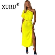 XURU New Womens Dress Solid Color One Shoulder Waist Sexy Backless High Split