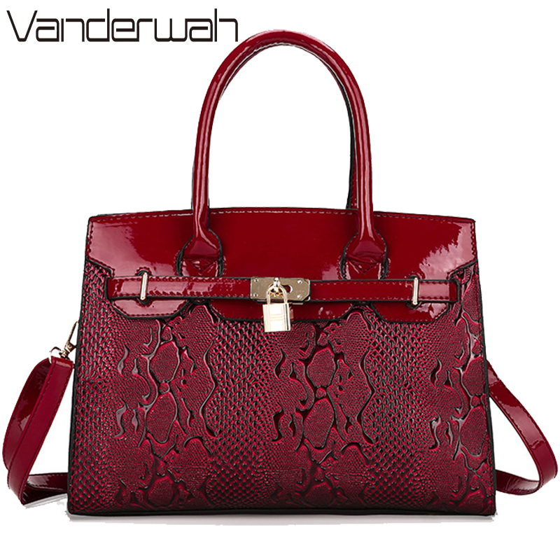 VANDERWAH LOCK Women Leather Bag Snake Pattern High Quality Bags Bride Tote Bag Women Wedding Handbags Brand Designer Tote Sac цена 2017