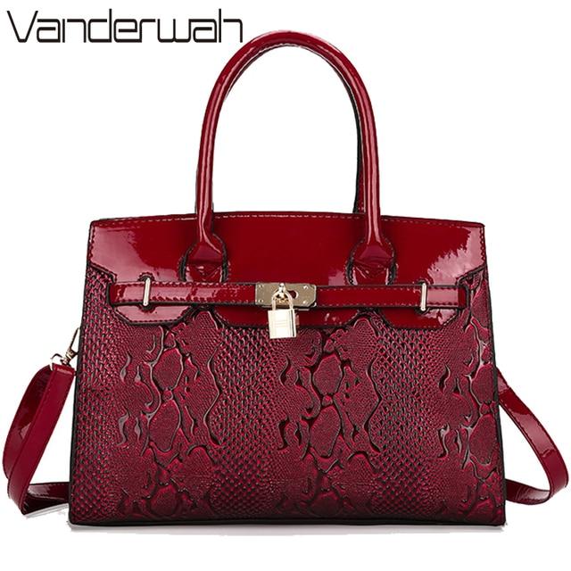 72f6a8a8a6c81 Vanderwah قفل أكياس المرأة حقيبة جلد الثعبان نمط عالية الجودة زفاف العروس  حمل حقيبة المرأة حقائب
