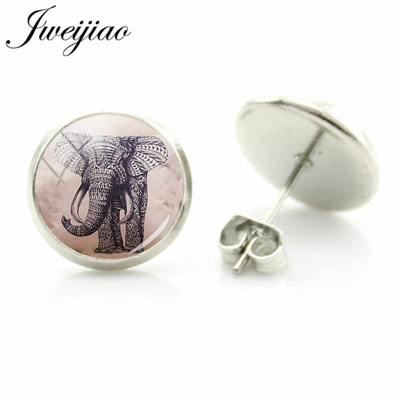 JWEIJIAO Ethnic Animal Elephant Stud Earrings Glass Elephant Art Painting Cabochon Earring For Friends Gift India Jewelry A231