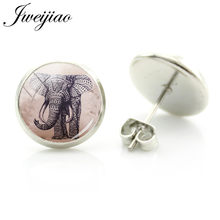JWEIJIAO Ethnic Animal Elephant Stud Earrings Glass Elephant Art Painting Cabochon Earring For Friends Gift India Jewelry A231(China)