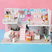 Doll House Furniture Miniature Dollhouse DIY Miniature House Room Toys for Children Pink stickers Dollhouse