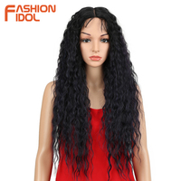 FASHION IDOL Hair 28 Inch Soft Long Kinky Curly I Lace Front Wig For Black Women Synthetic Hair Heat Resistant Wigs For Women