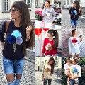 80% ALGODÃO Outono Nova Forma Das Mulheres Blusas de Pompons Fofo Bola De Gelo Creme Bolo Padrões Camisa de BOA QUALIDADE
