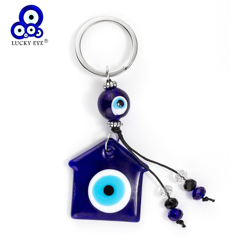Lucky Eye Blue Glass House Keychain Evil Eye Charms Tassel Car Keychain For Women Men Gifts EY186