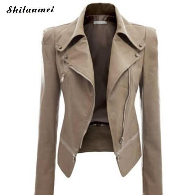fe0d67c6dea 2018 Women Coat Fashion Ladies Retro Solid Zipper Up Bomber Jacket Casual  Slim Fit Coat Plus Size Autumn Outwear Women Clothes
