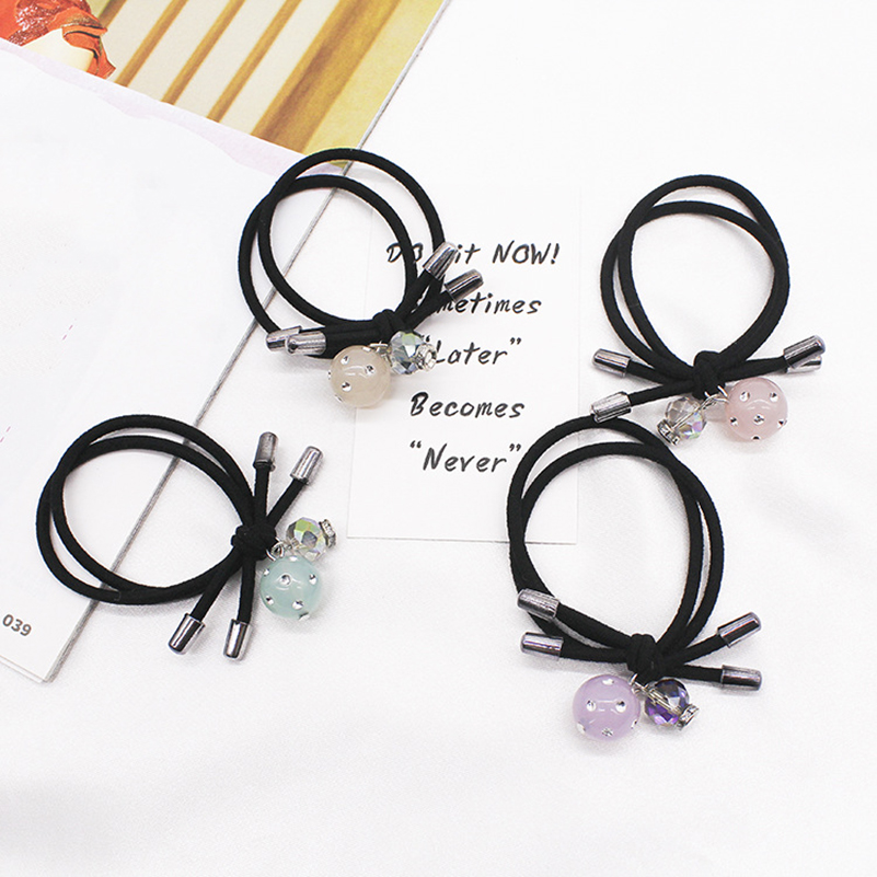 1pcs Lovely Flower Gray Ball Elastic Hair Bands Toys For Girls Handmade Bow Headband Scrunchy Kids Hair Accessories For Womens Beautiful And Charming Girl's Accessories