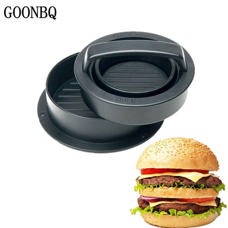 GOONBQ 3pcs set Round Shape Hamburger Mold Plastic Meat Burger Press Mold Beef Hamburger Mold Dropshipping